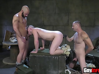 Anal,Big Cock,Fetish,Fisting,Hunks,Tattoo,Threesome,Uniform,Blowjob,group sex,studs,gay,Brian Bonds Stud stumbles into underground bunker and stripsearched