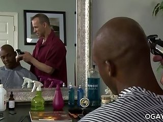 Interracial,anal sex,hardcore,big dick,black,uncut cock,gay,Osiris Blade Interracial gay intercourse in the barber shop