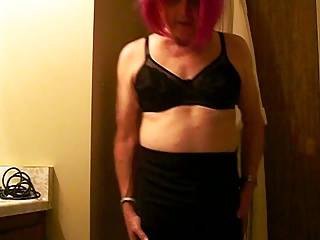Crossdressers (Gay);Gay Porn (Gay);Masturbation (Gay);Men (Gay);Small Cocks (Gay) Sissy Modeling new skirt bra and panties