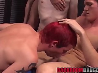 Blowjob,big dick,cum in mouth,orgy,redhead,deepthroat,group,young men,backroombangers,gay Handsome homo deviants make dick and jizz drive-through