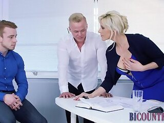 Masturbation,Big Cock,Party,gay,HD Bisexual guys in office spitroast and cum