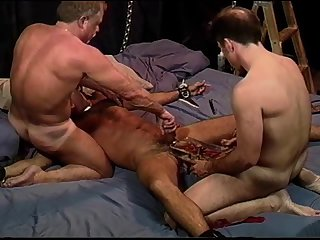 bondage,fetish,threesome,bdsm,brunette,muscled,dominating, 3some,gay New guy's very first CBT experience.