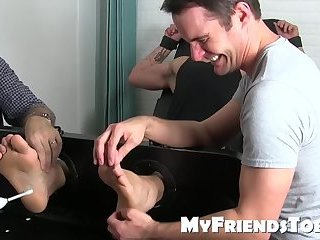 Bondage,Feet,Fetish,Threesome,foot fetish,muscle,jock,tickling,worship, toes,MyFriendsToes,gay Two freaks have kinky feet play with a tied up gay hunk