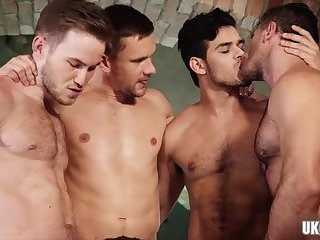 Anal,Threesome,Blowjob,Bareback,gay,group sex, Gay Muscle Hot gay threesome and cumshot