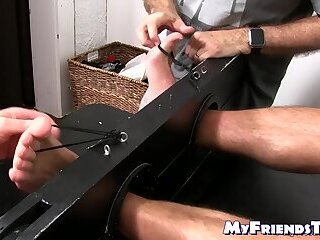 Bondage,Feet,Hunks,Threesome,muscle,foot fetish,socks,bound,tickling, toes, tied up, soles,MyFriendsToes,Bare Feet,feet tickling,gay Bound hunky homo endures tickling torment on feet and body