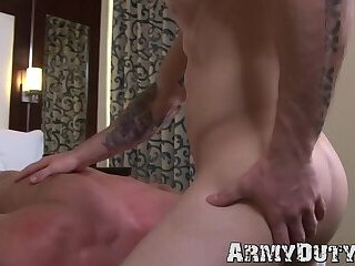 Big Cock,Uniform,Blowjob,Bareback,muscle,gay,kissing,deep throat,military,athletic,army,soldier,ArmyDuty,troop,HD Recruit opens up his ass for bare hammering doggy style