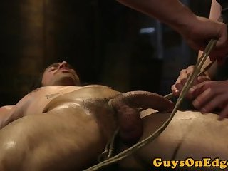 Cumshot,Bondage,Fetish,Handjob,leather,hung,gay Hunky stud edged until allowed to cum