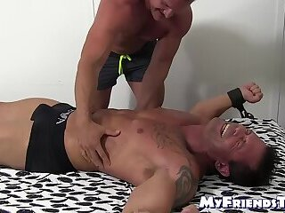 Bondage,Feet,muscle,foot fetish,socks,tickling,MyFriendsToes,Joey,Bare Feet,feet tickling,gay,HD,Joey Visconti Bound muscular guy laughs and begs while dom is tickling him