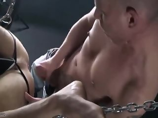 Anal,Bareback,leather,gay Leather Sling love juice Dump