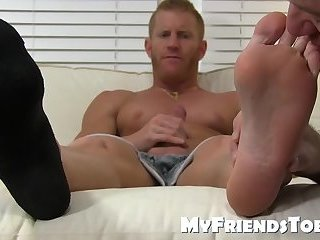 Cumshot,Masturbation,Big Cock,Feet,Fetish,hardcore,big dick,foot fetish,muscle,socks,jock,worship, toes,MyFriendsToes,Bare Feet,gay,Johnny V Muscle stud blasts out a huge load while feet worshiped