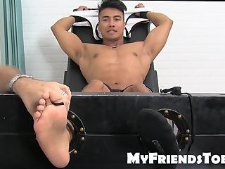 Bondage,Feet,Fetish,foot fetish,muscle,jock,tickling,worship, toes,MyFriendsToes,gay Extremely ticklish jock tied up for a session with master