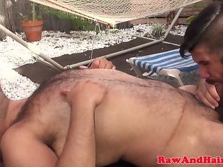 Anal,Cumshot,Bears,Mature,Outdoors,Threesome,Bareback,uncut,gay Chubby bear fucked before cumming in trio