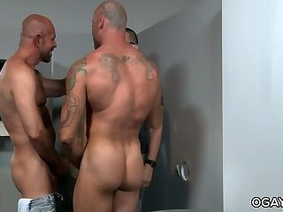 Mature,Threesome,anal sex,glory hole,condom,big dick,hairy,gay,Sean Duran,Matt Stevens Mature Gays Visit a Gloryhole