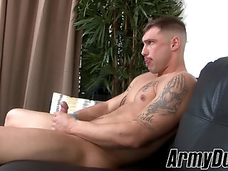Masturbation,Solo,Big Cock,gay,big dick,military,army,ArmyDuty Amazingly hot hunk Calvin takes blows one off just for you
