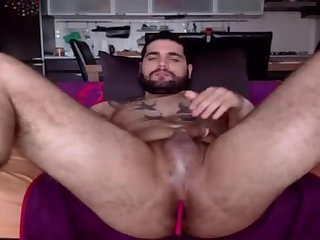 Amateur,Solo,Tattoo,toys,hairy ass,gay Cute beefy boy jerks with a vibrating toy up his ass