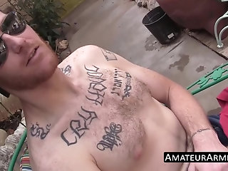 Amateur,Masturbation,Solo,Fetish,Tattoo,outdoor,jerking off,uncut,stud,armpits,amateurarmpits,gay Outdoor solo wanking show with hairy deviant stud