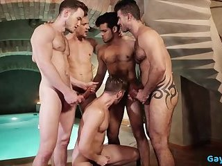 Anal,Rimming,Threesome,gay,group sex,fuck,submission,muscled Hot gay threesome and cumshot