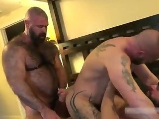 Anal,Bears,Threesome,hairy,gay Hot gay bear bareback orgy with final creampie