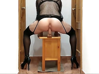 Big Cock (Gay);Crossdresser (Gay);Gaping (Gay);HD Videos;Anal (Gay) Crossdresser riding big fat dildo