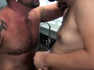 Bears (Gay),Blowjob (Gay),Cumshot (Gay),Gays (Gay),HD Gays (Gay) Hairy bear assfucking inked otter after bj