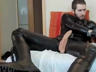 Amateur,Masturbation,Solo,gay Huge cock leather stud can barely fit all that meat into his toy