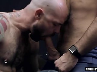 Rimming,Blowjob,gay,hairy,hung,muscled,bald,hairy ass Hairy gay anal sex and cumshot