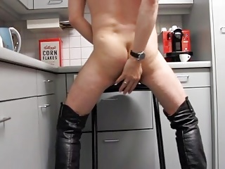 Crossdressers (Gay);Sex Toys (Gay);Riding Black Dildo;Black Riding;Black Dildo;Riding;Black Riding my black dildo till cum waering my overknee