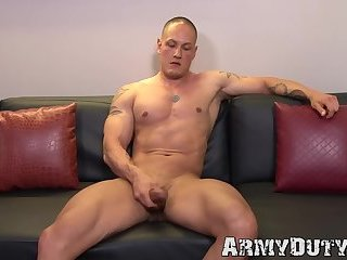 Masturbation,Solo,Body Builders,Tattoo,Uniform,gay sex,hunk,big dick,muscle,jock,military,army,hardcore gay,ArmyDuty,gay Dazzling inked army jock strokes his thick cock real hard