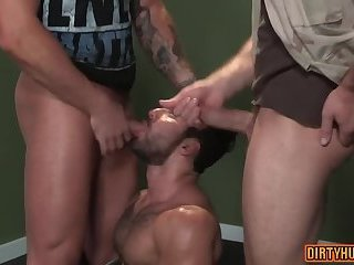 Anal,Rimming,Threesome,ass,bear,group sex,fuck,muscle,gay Muscle bear threesome with facial cum