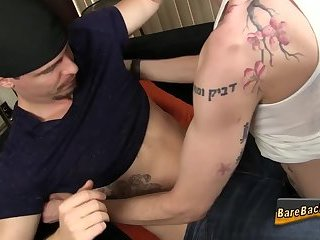 Cumshot,Amateur,Tattoo,Blowjob,Bareback,gay Barebacked tattooed ass