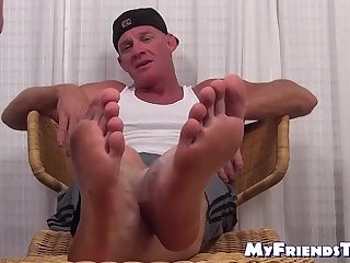 Feet,Mature,hunk,foot fetish,socks,Muscular, toes, feet licking, soles,MyFriendsToes,Bare Feet,gay Muscular hunk receives feet worshiping from his boyfriend