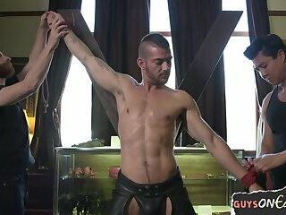 Bondage,Domination,bdsm,toys,hung,gay Muscly stud toyed during edging domination