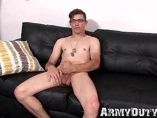 Masturbation,Solo,Big Cock,Fetish,Uniform,gay,gay sex,big dick,jock,military,army,soldier,hardcore gay,ArmyDuty,troop,glases Army dude Bud wanks off while wearing his black glasses