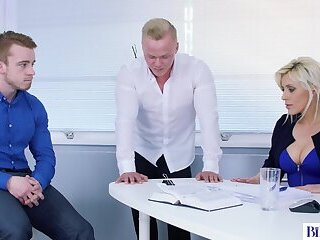 Anal,Masturbation,Bisexual,Threesome,Blowjob,gay Blonde Office Boss Creates a Bisexual Threesome