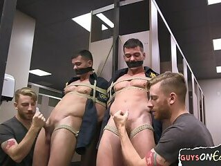 Amateur,Bondage,Domination,Fetish,Uniform,Blowjob,gay Police gay bound and blown in lavatory