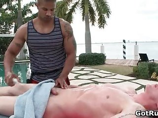 gay Great outdoor massage by two ripped hunks