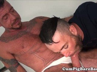 barebackcumpigs;gay;gaysex;foursome;group;orgy;blowjob;bear;wolf;tattoo;muscle;rimjob;anal;analsex;bareback,Bareback;Gay Hunky bears bareback fucking and rimming