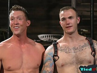 Body Builders,Bondage,Blowjob,gay Tattooed muscle gets electro punished