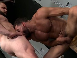 Rimming,jerking off,anal sex,condom,beefy,gay porn,Muscular,facial hair,gay Bearded gays having anal sex