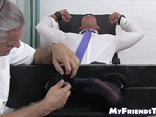 Bondage,Feet,Mature,foot fetish,socks,bound, toes, tied up,gentleman,MyFriendsToes,Bare Feet,men in suit,feet tickling,gay Tied up stud with tattoos has his toes and feet tickled