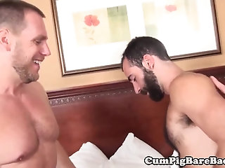 Anal,Bears,Threesome,Blowjob,Bareback,gay Cock loving otter rides dick while sucking