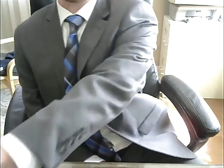Men (Gay);Gay Porn (Gay);Amateur (Gay);Masturbation (Gay);Blue;Office Gray Suit, Blue Tie, Public Office Jerk