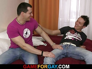 Amateur (Gay);Blowjobs (Gay);Gay Porn (Gay);Game For Gay;Anal Tries He tries out anal sex with a dude