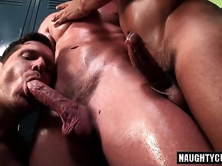 Interracial,gay,oral,group sex,foursome,oiled,muscled,locker room Tattoo gay oral sex and cumshot