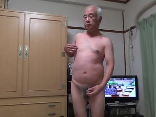 Solo,Asian,Japanese old man,naked man,exposed cock head,gay Naked Japanese old man cock exposure