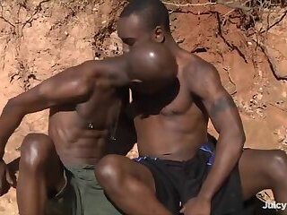 Big Cock,Ebony,Outdoors,Bareback,gay black duo barefucking in nature