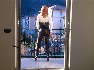 Men (Gay);Leather Corset;Leather Pants;Corset;Leather hot cd leather pants high heels and corset