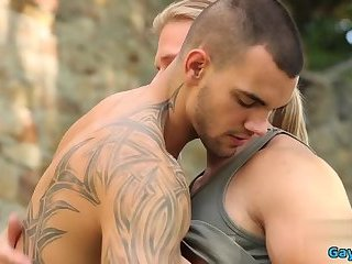 Anal,Outdoors,Tattoo,gay,muscle Muscle gay anal sex with cumshot