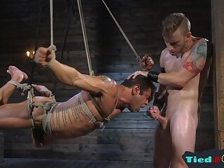 Amateur,Bisexual,Homemade,Blowjob,gay Suspended bound bdsm hunk is fed studs cock