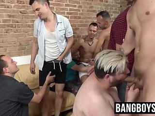 Big Cock,Gangbang,Blowjob,Bareback,hardcore,group sex,big dick,orgy,deepthroat,group,jock,chubby,spitroast,BangBoysPass,throat fuck,gay Perverted homosexual orgy leaves assholes gaped by bare cock